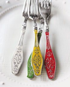 """Versailles"" Enameled Flatware - great way to add color to your table with this fun utensils"