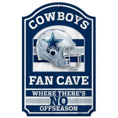 "Dallas Cowboys Fan Cave Wooden Sign Hardboard wood signs are 1/4"""" thick, decorated with quality graphics to resemble an antique wood finish. A matte finish laminate top is added for greater durabilit"