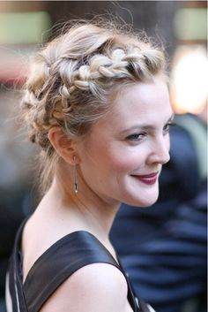Drew Barrymore, braided updo. So many stunning styles on this page!