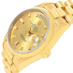 14560 Rolex President Day-Date Yellow Gold Diamond Mens Watch 18238 Box SwissWatchExpo