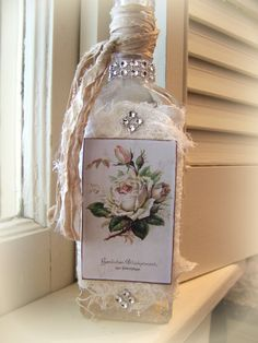 Shabby White Apothecary Altered Bottle Vintage Floral Tattered Lace