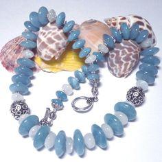 Rainbow Moonstone and Blue Angelite necklace by KatsAllThat on Artfire.