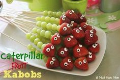 Healthy Caterpillar Fruit Kabobs for Kids! - Must Have MomCaterpillar Fruit Kabobs Party Food Idea! - Must Have Mom Fruit Kabobs Kids, Fruit Fruit, Kids Fruit, Rainbow Fruit, Best Fruits, Party Snacks, Fruit Party, Easy Kid Party Food, Zoo Party Food