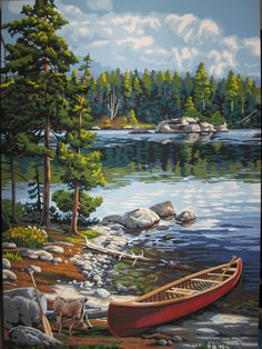 After a scenic paddle trip, a traveler's canoe rests on the rocky edge of a crystal clear lake. From Works, Canoe by the Lake paint by number l… Paint By Number Kits, Paint By Number Vintage, Texture Art, Amazon Art, Beautiful Paintings, Photos, Pictures, Art Boards, Drawings