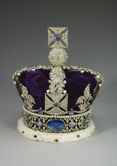 The Imperial State Crown, or Crown of State,  is formed from an openwork gold frame, mounted with three very large stones, and set with 2868 diamonds in silver mounts, largely table-, rose- and brilliant-cut, and colored stones in gold mounts, including 17 sapphires, 11 emeralds and 269 pearls.  | Royal Collection Trust