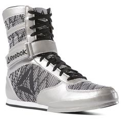 Reebok Shoes Men s Boxing Boots in Silver White Black Size 7.5 - MMA Shoes 2c027634a