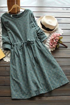 3 colors-- vintage print slim waist lacing long-sleeve o-neck one-piece dress drawstring full dress 2016 autumn _ {categoryName} - AliExpress Mobile Version - Komplette Outfits, Casual Outfits, Winter Outfits, One Piece Dress, Dress Up, Dress Long, Trendy Dresses, Casual Dresses, Jw Mode