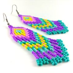 Hippie Earrings Beaded Earrings Seed Bead Earrings by Galiga
