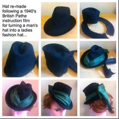 A make do & mend hat made following a 1940s Pathe instructional film.