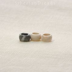 These are Set of 3 Dreadlock Beads Ethnic Boho Tribal style. Grey and , Milky white colour mixed. This item makes your dreadlocks more lovely & beautiful. Ready to ship :D   1. Material - Polymer Clay  2. Size - Tall: 0.8cm ~ 0.85cm - Hole: 0.85cm ~ 0.95cm  **Please read our shipping & policies** **You can choose between Standard Shipping and EMS Shipping Service when you odrder** **Ship to Canada only EMS Shipping. The reason is written in our policies** **Do not miss that our new w...