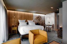 Boutique Hotel   Majeka House   Bedroom   Hotel   Bed   Wood panelling   Wallpaper   Gregor Jenkin table   Kartell   Luxury   Mood   Oak   Granite   Leather   Cotton   Yellow leather   Etienne Hanekom Interiors