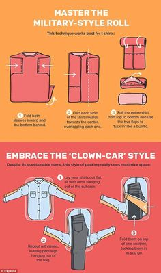 Infographic reveals the ultimate packing hacks Travel tips 2019 Holidaymakers are urged by the infographic to make their shirts burrito shaped to save on space and prevent creases Packing Hacks, Packing Tips For Travel, Travel Hacks, Travel Ideas, Travel Advice, Budget Travel, Packing A Suitcase, Travel Essentials For Women, Europe Packing