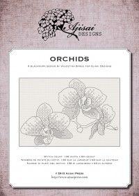 blackwork pattern - orchids - ajisai designs