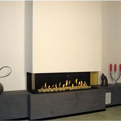 creative small adorable nice wonderful cool 3 sided gas fireplace with nive concrete wall design concept with small fire