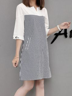 Black Shift Casual Paneled Stripes Dress - PopJulia.com