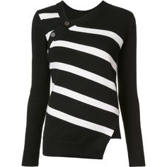 Proenza Schouler asymmetric striped jumper ($895) ❤ liked on Polyvore featuring tops, sweaters, long sleeve tops, black, striped jumper, striped long sleeve top, asymmetric top and side slit sweater