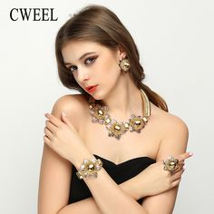 CWEEL Exquisite Dubai Jewelry Sets For Women Luxury Gold Color Nigerian Wedding African Beads Costume Design Necklace Earrings *** AliExpress Affiliate's Pin. Click the image to view the details