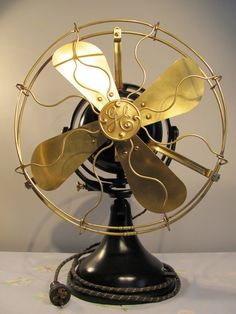 twelve inch brass oscillating fan, 1912, by retroroxyrhonda on etsy