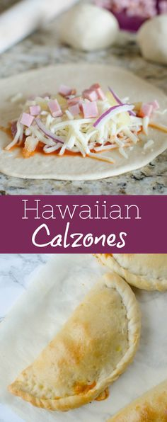 Mini Hawaiian Calzones - easy homemade calzones filled with ham pineapple red onion and mozzarella cheese! The perfect way to switch up pizza night! Pizza Recipes, Mexican Food Recipes, Hawaiian Dishes, Hawaiian Recipes, Mozzarella, Steak Dinner Sides, Calzone Recipe, Easy Eat, Light Recipes