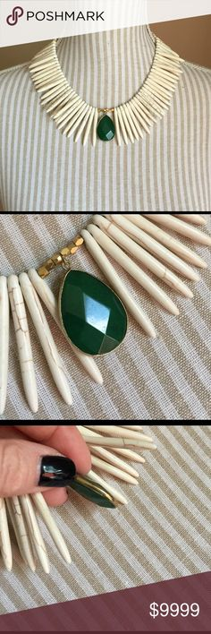 "Anthropologie Jade Spiky Necklace Excellent condition. Bone spikes are solid and strong and jade colored stone is on both sides. About 18""-20"" in total length. 2"" extender. Anthropologie Jewelry Necklaces"
