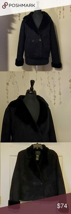RALPH LAUREN Cropped Pea Coat RN# 54050 CA# 08349 Short pea coat trimmed and lined with faux fur.  Suede like body.  Has a great luxurious weight to it.  Preowned with no flaws, next to new.   Size M Ralph Lauren Jackets & Coats Pea Coats