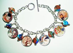 KLIMT Paintings CHARM BRACELET Mother and Child Tree Of Life Altered Art Tribute #artjewelryforyou #Traditional