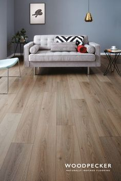 Wembury Nordic Oak - Bring warmth to your space with the light cocoa tones and sunny highlights of Nordic Oak laminate f - Laminate Flooring Colors, Hardwood Floor Colors, Grey Wood Floors, Timber Flooring, Vinyl Flooring, Hardwood Floors, Painted Floors, Flooring Ideas, Living Room Flooring