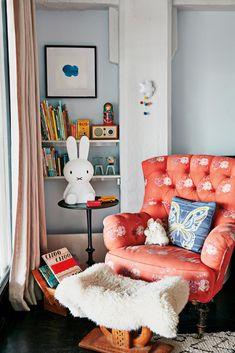 This Eclectic Loft Is the Epitome of Brooklyn Cool (domino) Cozy Corner, Kids Corner, Kids Room Design, Kids Bedroom, Kids Rooms, Bedroom Decor, Interior Inspiration, Diy, B & B