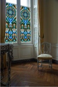 Site that sells fantastic window clings - might go this route for glass bathroom door