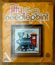 Vintage TRAIN Needlepoint Kit CIRCUS TRAIN ENGINE Sunset Jiffy #9 Rare OOP #SunsetJiffy