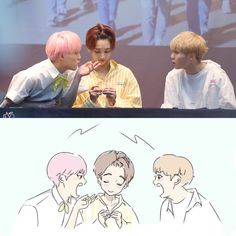 Ya already know they r fighting, atleast Jeonghan is in between them to- And hes not doing anything okay Seventeen Memes, Jeonghan Seventeen, Woozi, K Pop Star, Kpop Fanart, Pledis Entertainment, Seungkwan, Handsome Boys, Drawing S