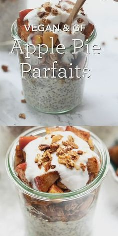 delicious apple pie breakfast parfaits are a perfect morning treat They taste like dessert but are full of healthy ingredients like chia and oats! Made in a jar Easy recipe that is vegan and gluten free and great for make ahead or meal prep Keto Recipes, Dessert Recipes, Cooking Recipes, Healthy Recipes, Easy Recipes, Delicious Recipes, Vegan Recipes Plant Based, Vegan Recipes Videos, Dessert Cups