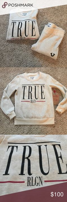 True Religion sweat suit Cream True Religion jogger sweat suit. NWT Never worn! Top is a size S. Bottom is size M. True Religion Pants Track Pants & Joggers