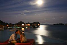 Sofitel Bora Bora Marara Beach - Infinity pool at night