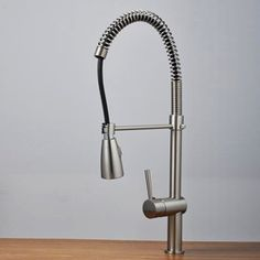 Nickel Brushed Single Handle Centerset Pull-out Kitchen Faucet T1713S