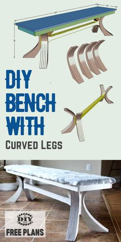 Build your own DIY Bench with Curved Legs. Free plans and how-to step by step instruction with printable PDF. #diy #project #livingroom #decor #farmhouse #diydecor #furniture #woodworking #instructions #freeplans Interior Blogs, Interior Stairs, Interior Trim, Interior Design, Outdoor Projects, Diy Craft Projects, Garden Projects, Project Ideas, Diy Furniture Plans