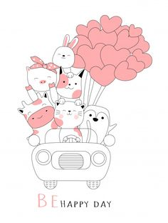 Cute baby animal with car cartoon hand drawn style Premium Vector Discover thousands of Premium vectors available in AI and EPS formats Doodle Art Drawing, Art N Craft, Badge Design, Cute Doodles, Cute Backgrounds, Cute Cartoon Wallpapers, Cute Illustration, Cute Baby Animals, Easy Drawings