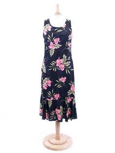 e6f436ae6d9  Plus Size  Orchid Fern Black Rayon Hawaiian Midi Dress