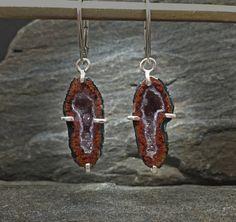 Red Geode Earrings Prong set druzy earrings by PureDichotomy