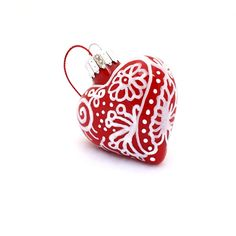 Zentangle Glass Heart Ornament Hand Painted by creationsbyjdb, $15.00 on Etsy