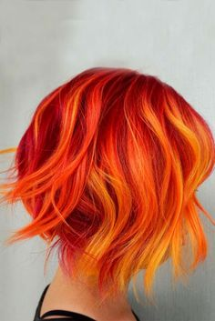 50 Short Ombre Hair Ideas for Women - Short Hair - Hair Styles Fire Ombre Hair, Fire Hair, Bright Hair Colors, Red Hair Color, Color Red, Bright Coloured Hair, Short Hair Colour, Silver Color, Colours