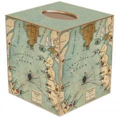 Antique Map Tissue Box Cover...like idea and would use maps of places traveled to!