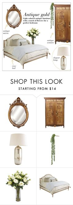 """Antique gold"" by taniadeseptembre ❤ liked on Polyvore featuring interior, interiors, interior design, home, home decor, interior decorating, Universal Lighting and Decor, Arteriors, Nearly Natural and Hickory Chair Furniture"
