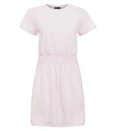 Mid Pink Shirred Waist T-Shirt Dress  | New Look