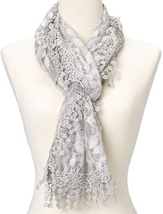 Cindy and Wendy Lightweight Soft Leaf Lace Fringes Scarf shawl for Women 9ebf9eb34456
