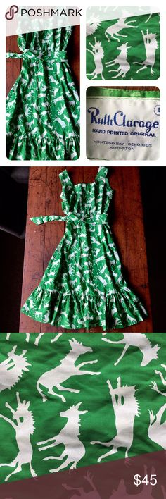 """Vintage Ruth Clarage Hand printed donkey dress Excellent vintage condition, like new, tag says 8. It is not an 8, but fits sizes 2-4, length 42"""", elastic waist in back stretches to 14"""", 18"""" hidden zipper down center in back, bust 17"""", arm opening just over 7.5"""". This would be show stopping at your next BBQ. Unique Vintage Dresses"""