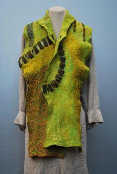 Extraordinary hand felted scarf wearable art by sassafrasdesignl, $159.00