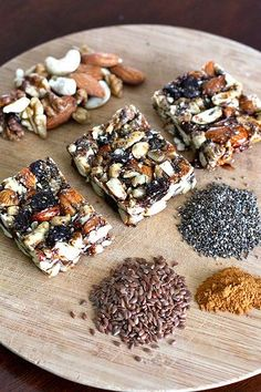 Healthy nut and dried fruit bars. Includes chia and flax seeds, almonds, walnuts, cashews...you could also add cranberries, dates, apricots, figs.