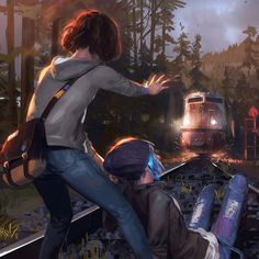 Life is Strange: Max saves Chloe from a on coming train