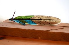 Fused Glass Feather w/Bead Embellishment by MountinDesigns on Etsy